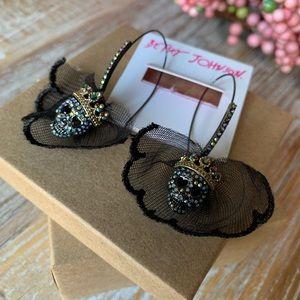 Betsey Johnson Skull Veiled Bride Earrings
